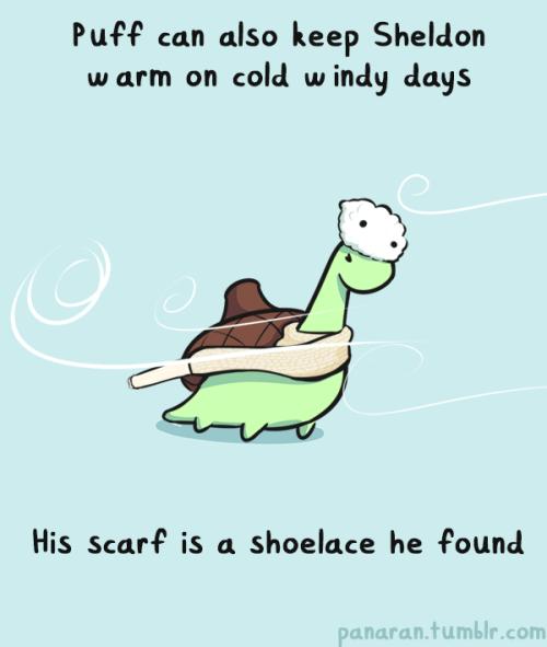Reprodução / Puff também pode manter Sheldon aquecido em dias frios. Seu cachecol é um cadarço que ele achou.